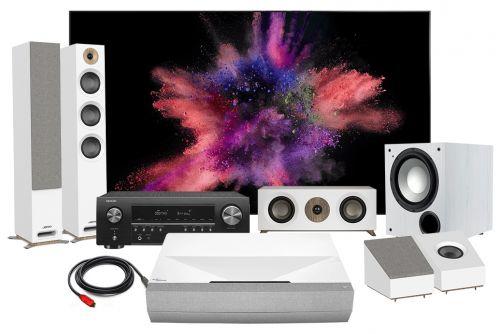 Optoma CinemaX P2 Denon AVR-S650H Jamo S 809 5.1 Speakers & Carson Twilight ALR Premium UST Zero Edge Ambient Light Rejection Screen (ALR) Screen Complete Home Theatre Package