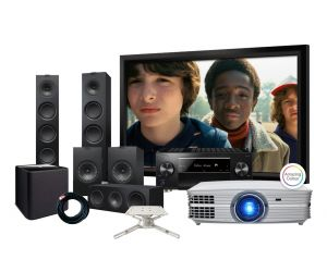 Optoma UHD60 4K Projector, Pioneer VSX-LX503 Receiver, KEF Q750 Speakers and Elegance Screen Home Theatre Package